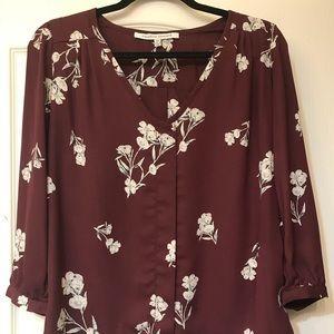 Burgundy Floral 3-Quarter Sleeve Blouse